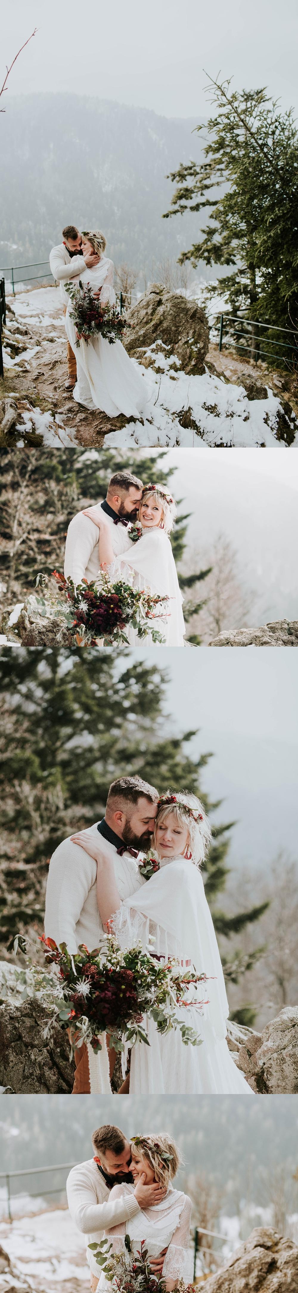 Mariage en hiver dans la neige